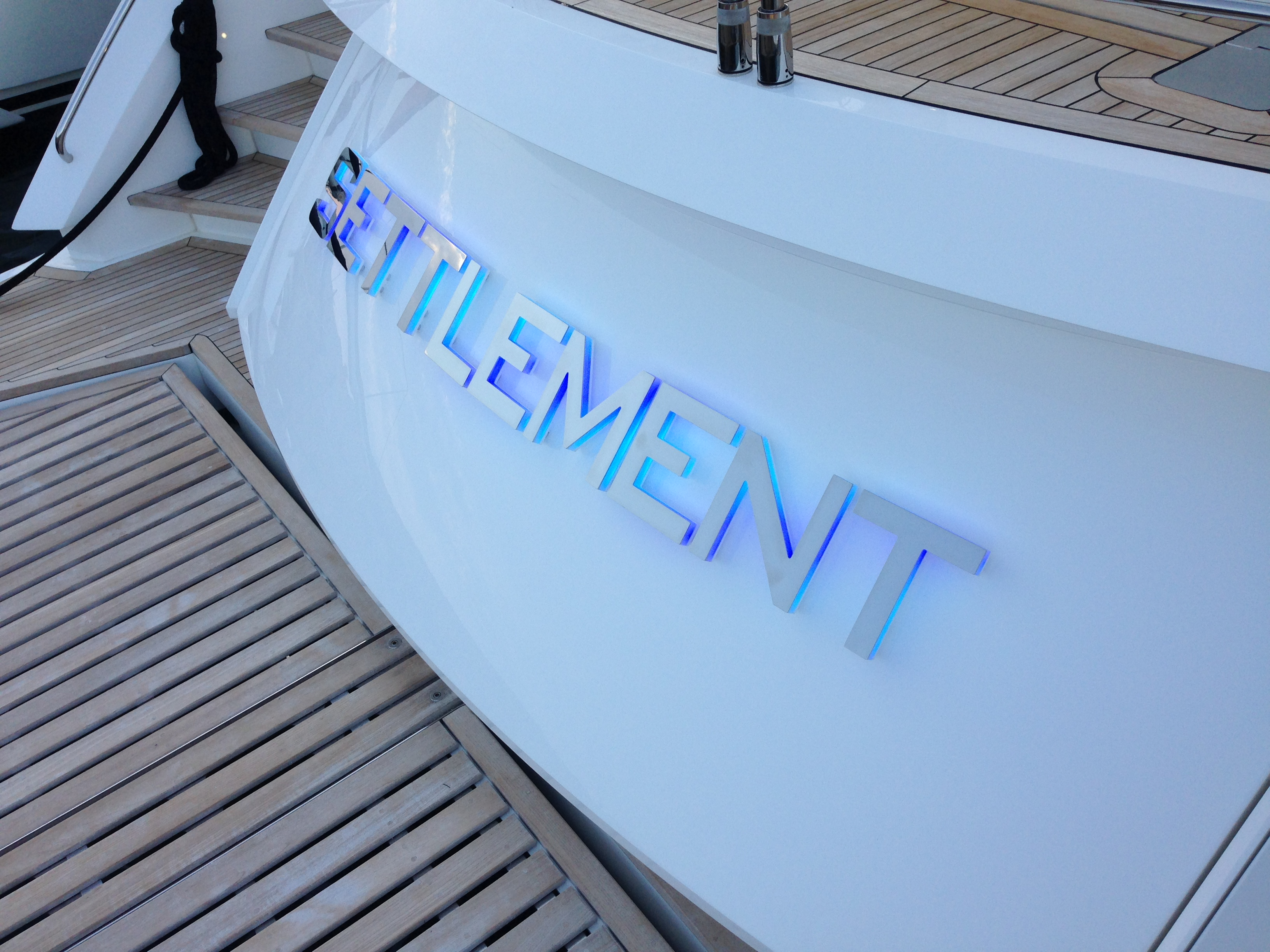 Settlement Yacht Sign - High Mirror Polished Stainless Steel 316 Grade