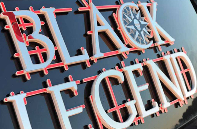 Black Legend Yacht Sign - Special Plate Finishes
