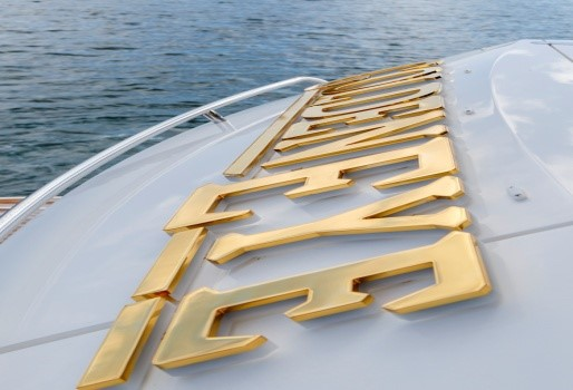 Golden Eye Yacht Sign - Special Plate Finishes